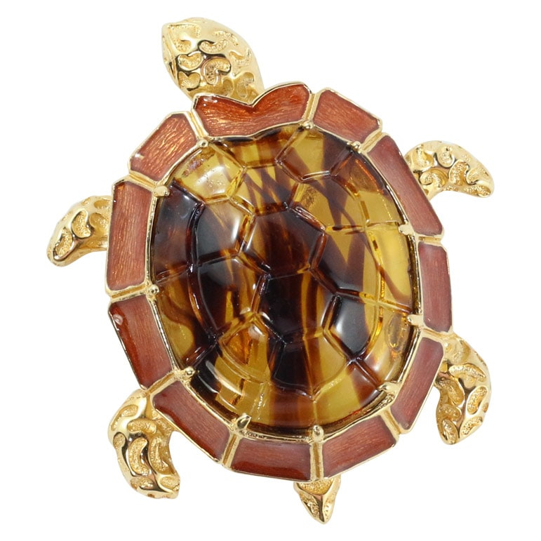 Ciner NY The Glass Shelled Turtle Brooch