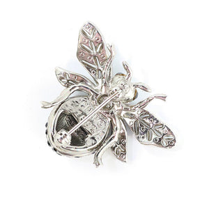 Ciner NY 100th Anniversary Bee Brooch - Rhodium & Black Crystals