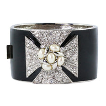 Load image into Gallery viewer, Ciner NY Sparkling Pearl & Black Enamel Cross Cuff
