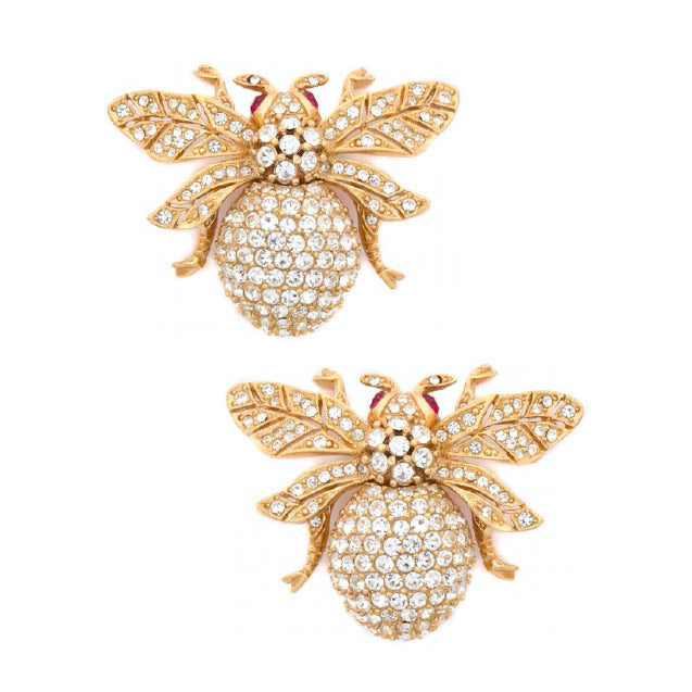 Ciner NY 24kt Plated 100th Anniversary Bee Earrings Ruby Eyes (Clip-ons)