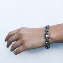 Load image into Gallery viewer, Ciner NY Rhodium & Black Diamond Box & Tongue Clasp Bracelet