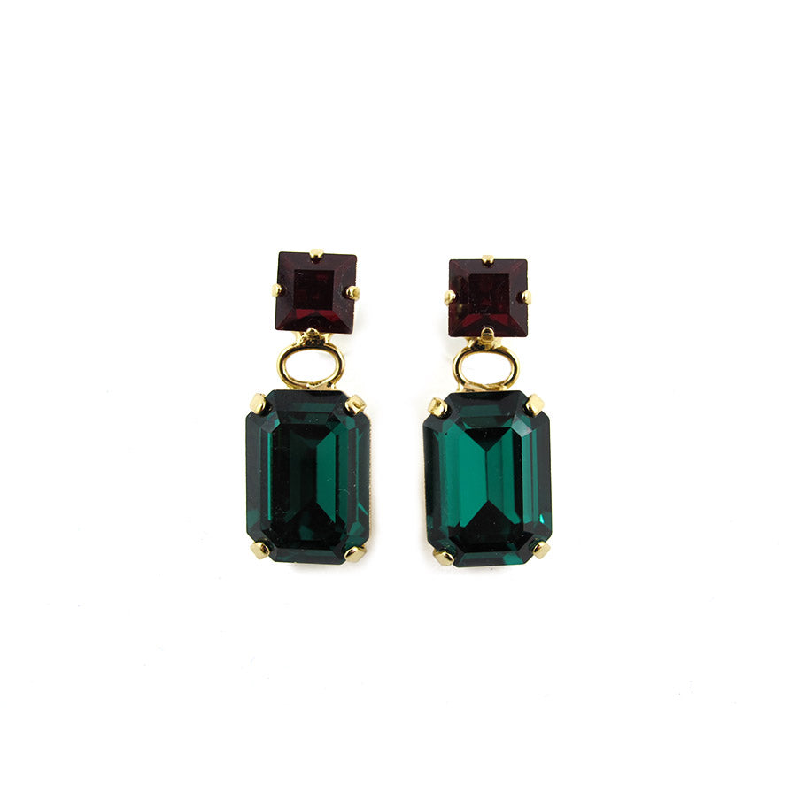 Harlequin Market Double Crystal Earrings - Ruby & Emerald