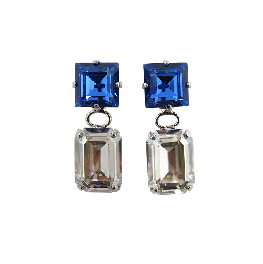 Harlequin Market Double Crystal Earrings - Clear & Sapphire