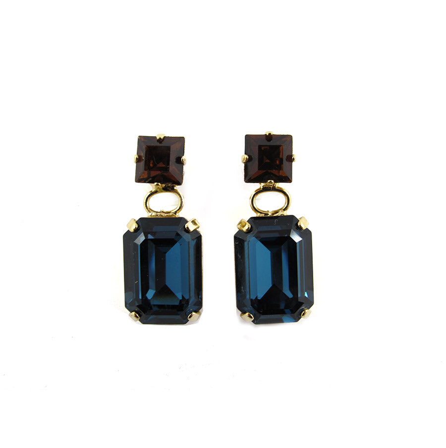 Harlequin Market Double Crystal Earrings - Montana & Topaz