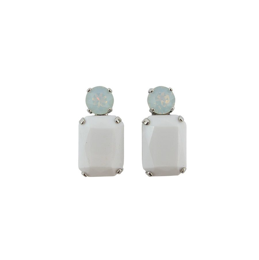 Harlequin Market Double Crystal Earrings - White Opaque & White Opal -(Pierced earrings)
