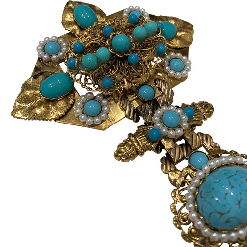 Signed 'Vrba' Military Style Faux Turquoise & Faux Pearl Brooch
