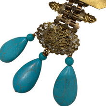 Load image into Gallery viewer, Signed 'Vrba' Military Style Faux Turquoise & Faux Pearl Brooch