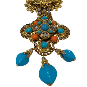 Signed 'Vrba' Military Style Faux Turquoise & Faux Coral Brooch