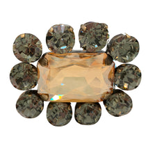 Load image into Gallery viewer, HQM Austrian Crystal Square Statement Brooch - Colorado & Black Diamond