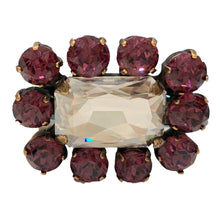 Load image into Gallery viewer, HQM Austrian Crystal Square Statement Brooch - Clear & Amethyst