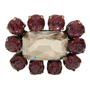 HQM Austrian Crystal Square Statement Brooch - Clear & Amethyst