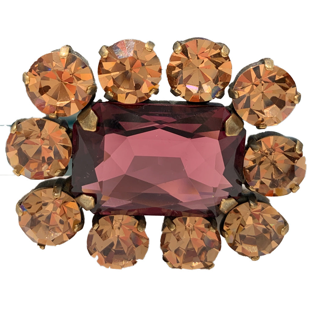 HQM Austrian Crystal Square Statement Brooch - Amethyst & Light Smoked Topaz