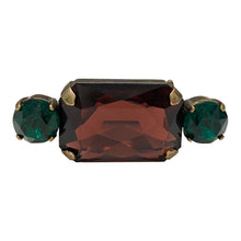 Load image into Gallery viewer, HQM Austrian Crystal Rectangle Single Bar Brooch - Burgundy & Emerald