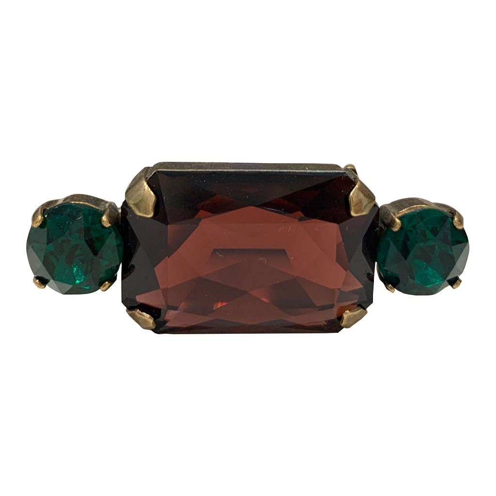 HQM Austrian Crystal Rectangle Single Bar Brooch - Burgundy & Emerald