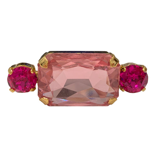 HQM Austrian Crystal Rectangle Single Bar Brooch - Rose & Fuchsia