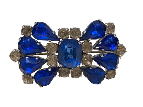 Unsigned Vintage Sapphire & Clear Crystal Brooch