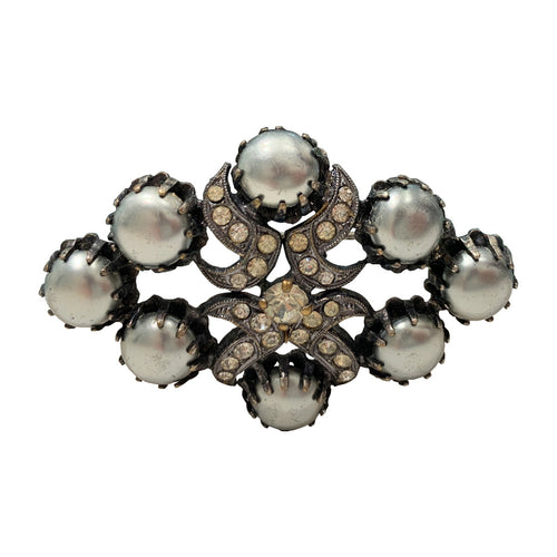 Unsigned Vintage Metallic Silver Cabochon & Clear Crystal Brooch