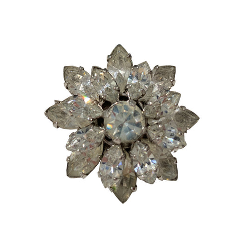 Unsigned Vintage Small Clear Crystal Daisy Brooch