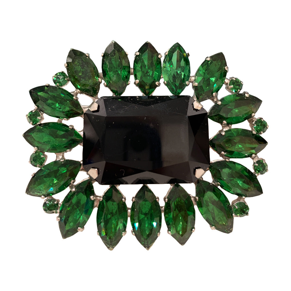 HQM Austrian Crystal Large Rectangle Spiked Brooch - Emerald Green & Black