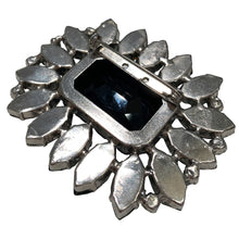 Load image into Gallery viewer, HQM Austrian Crystal Large Rectangle Spiked Brooch - Emerald Green & Black