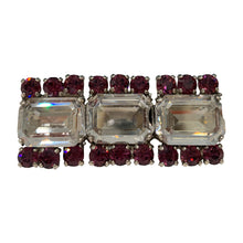Load image into Gallery viewer, HQM Austrian Crystal Three Stone Rectangle Bar Brooch - Clear & Amethyst