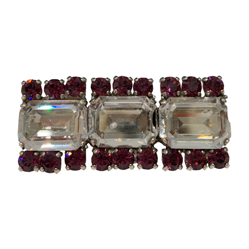 HQM Austrian Crystal Three Stone Rectangle Bar Brooch - Clear & Amethyst