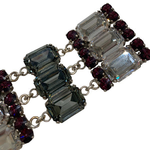 HQM Austrian Crystal Military Tassel Drop Three Tiered Brooch - Clear, Amethyst & Black Diamond