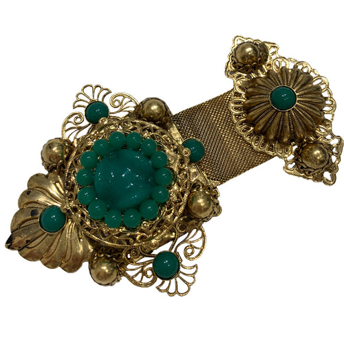 Signed 'Vrba' Military Style Emerald Green & Gold Tone Brooch