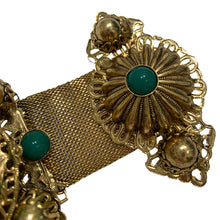 Load image into Gallery viewer, Signed 'Vrba' Military Style Emerald Green & Gold Tone Brooch