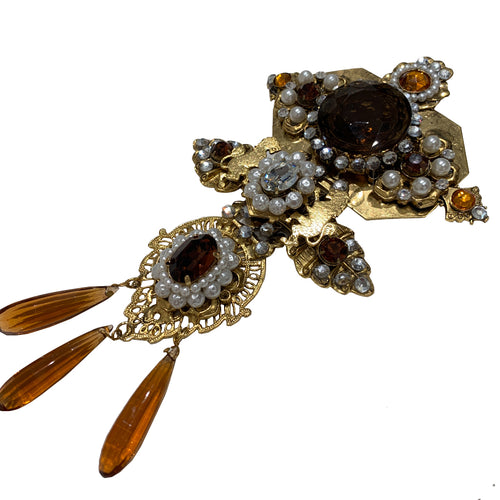 Signed 'Vrba' Military Style Bronze & Faux Pearl Brooch