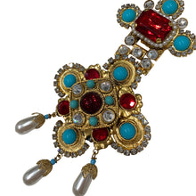 Load image into Gallery viewer, Signed 'Vrba' Military Style Faux Turquoise, Faux Pearl, Red Ruby & Clear Crystal Brooch