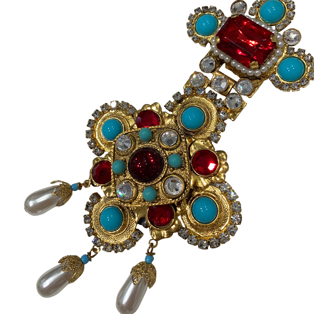 Signed 'Vrba' Military Style Faux Turquoise, Faux Pearl, Red Ruby & Clear Crystal Brooch