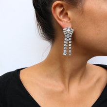 Load image into Gallery viewer, HQM Austrian Clear Crystal Diamond Shaped Waterfall Tassel Earrings (Pierced)