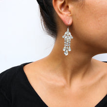 Load image into Gallery viewer, HQM Clear Crystal Small Chandelier Drop Earrings (Pierced)