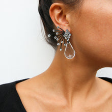 Load image into Gallery viewer, HQM Austrian Clear Crystal Black Spark Drop Earrings (Pierced)