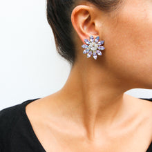 Load image into Gallery viewer, HQM Light Amethyst & Clear Crystal Daisy Earrings (Clip-On)