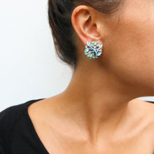 Load image into Gallery viewer, HQM Pastel Blue Leaf & Crystal Deco Earrings (Clip-On)