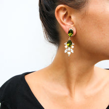 Load image into Gallery viewer, HQM Drop Faux Pearl, Clear & Olivine Crystal Earrings (Clip-On)