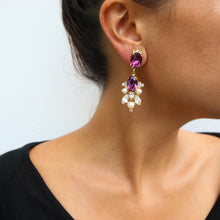 Load image into Gallery viewer, HQM Drop Faux Pearl, Clear Crystal & Amethyst Earrings (Clip-On)