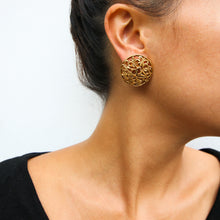 Load image into Gallery viewer, Chanel Vintage CC Textured Gold Detail Round CC Earrings c. 2006 (Clip-on)
