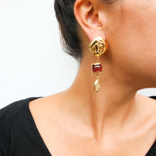 Load image into Gallery viewer, Chanel Vintage Red Gripoix Pate-de-Verre Gold Mademoiselle Drop Earrings c. 1990 (Clip-on)