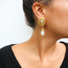 Load image into Gallery viewer, Chanel Vintage CC Gold Faux Pearl Drop Earrings c. 1990 (Clip-on)