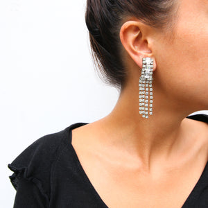 HQM Austrian Clear Crystal Rhinestone Cuff & Tassel Earrings (Clip-On)