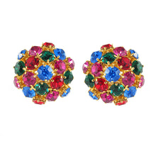 Load image into Gallery viewer, Harlequin Market Austrian Crystal Multi Coloured Cluster Earrings- (Clip-On Earrings)