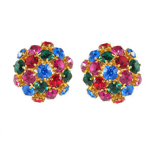 Harlequin Market Austrian Crystal Multi Coloured Cluster Earrings- (Clip-On Earrings)