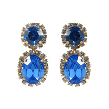 Load image into Gallery viewer, Harlequin Market Austrian Sapphire Crystal Earrings- (Pierced Earrings)