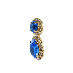 Harlequin Market Austrian Sapphire Crystal Earrings- (Pierced Earrings)