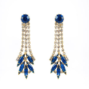 Harlequin Market Austrian Crystal Sapphire Earrings- (Pierced earrings)
