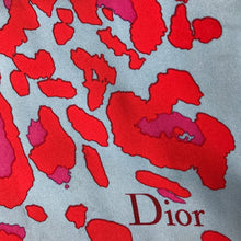 Load image into Gallery viewer, Christian Dior Paris Silk Scarf 67cm - Blue with Red & Fuchsia Pink Design, Green Trim