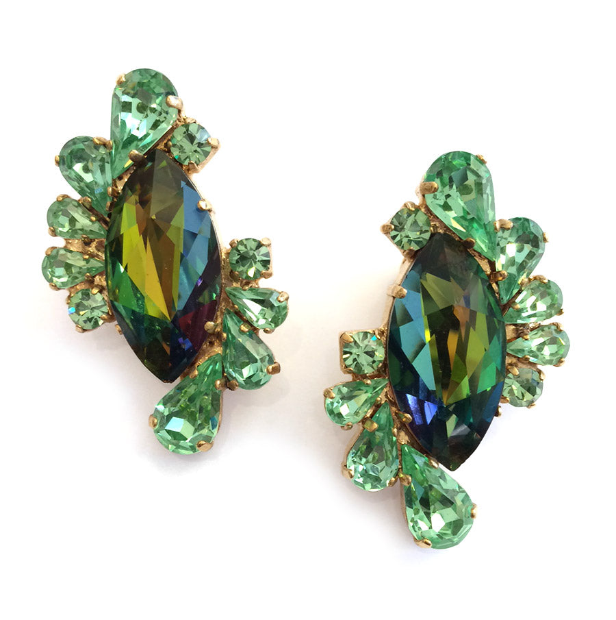 Harlequin Market Crystal Earrings - Peridot + Olivine